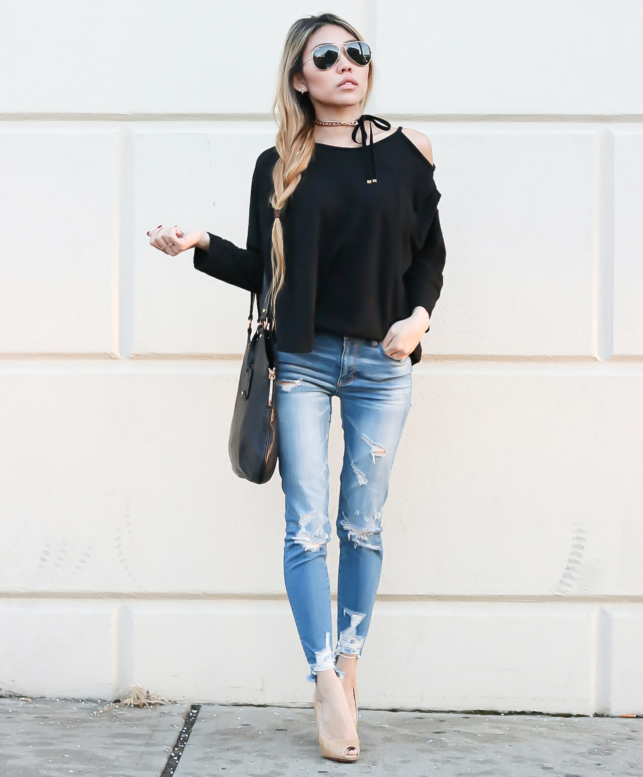 Off The Shoulder Strappy Top Ripped Jeans And Tie Chain