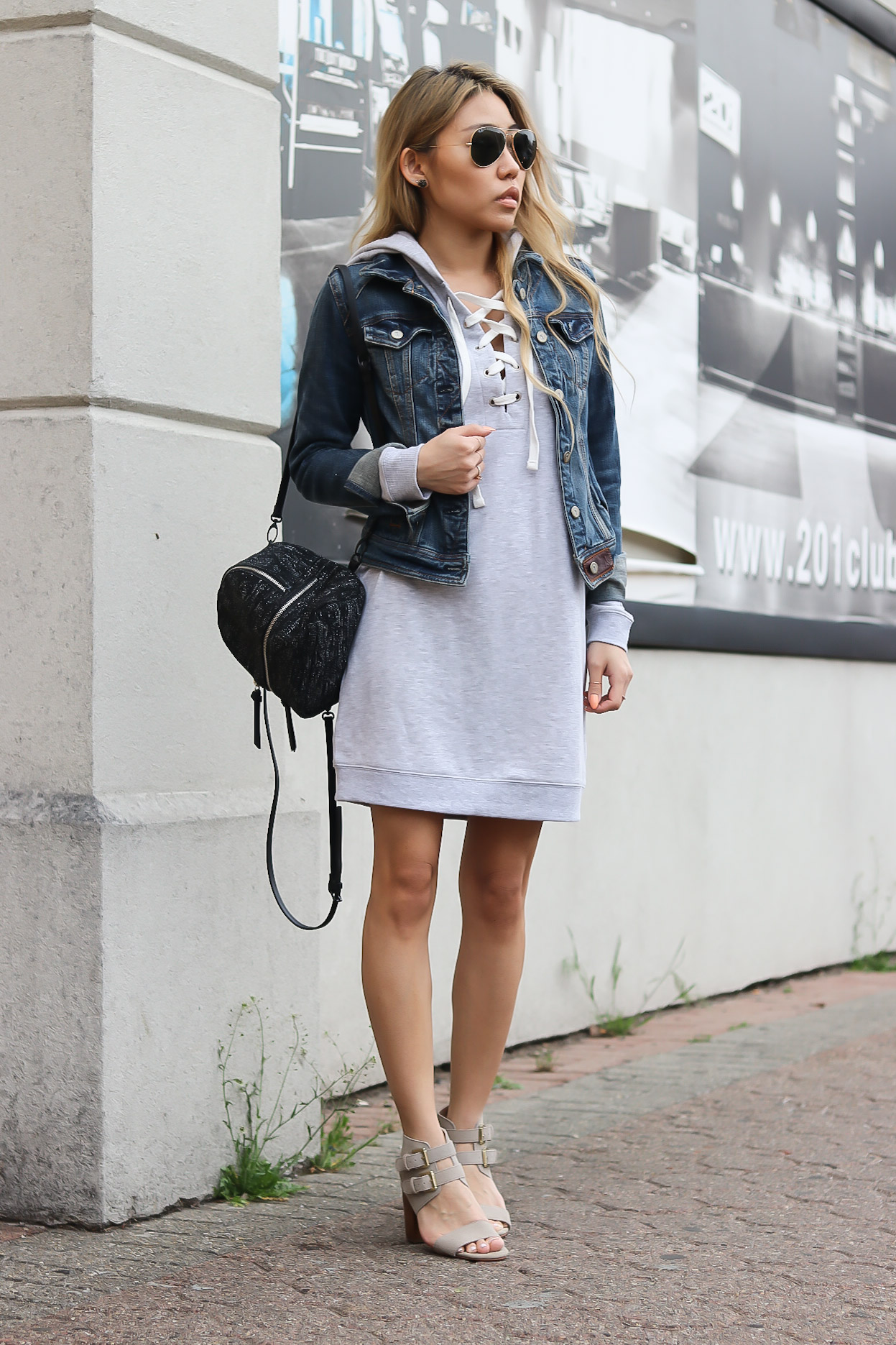 7558aa7a65 I love this hooded lace-up sweatshirt dress that I recently found. It is  extremely comfortable