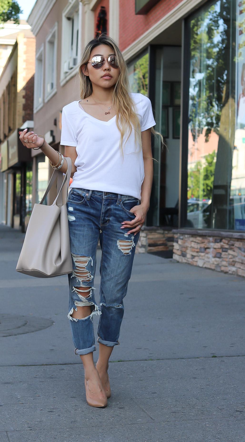 White Tee And Boyfriend Jeans
