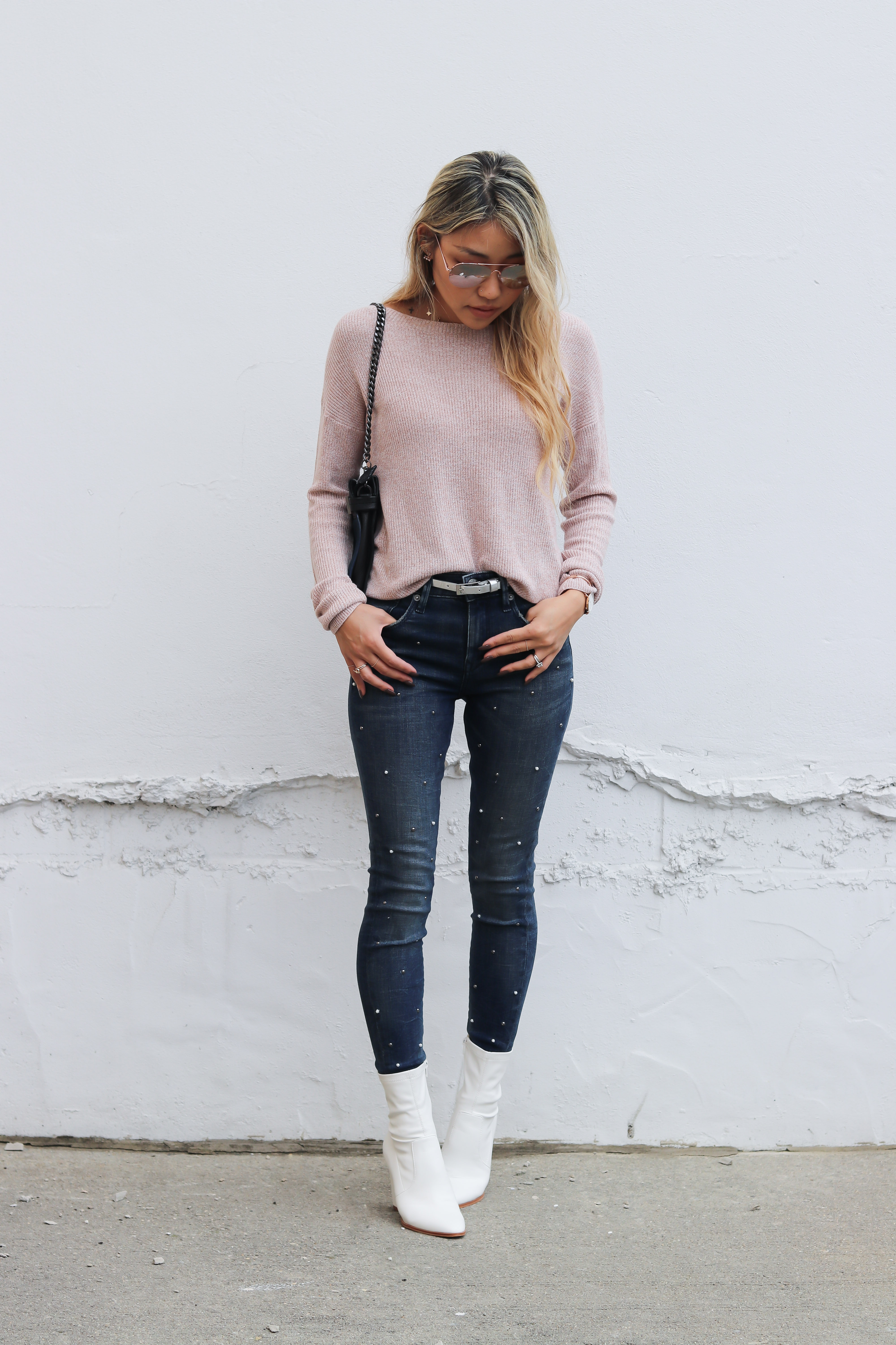 White Boots and Pearl Studded Jeans – L